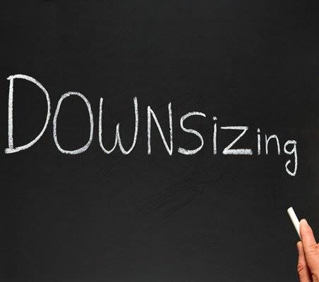 Downsizing written in chalk on a blackboard