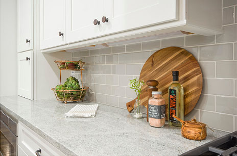 Clean countertop with organized cabinets
